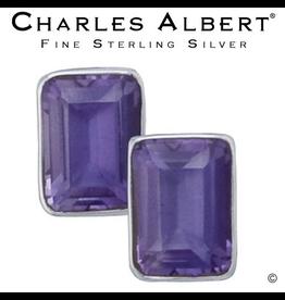 Charles Albert Jewelry Sterling Silver Amethyst Earrings- Post