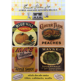 Funmade Kitchen Art 12 Self Adhesive Decals - Vintage Cans