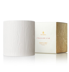Thymes Frasier Fir Gilded Ceramic Candle Medium Pillar 11 Oz