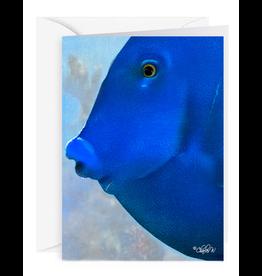 By The Seas-N Greetings Blank Note Card - Cash - Gift Card Holder - Blue Fish II