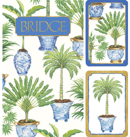 Caspari Bridge Gift Set w 2 Card Decks 2 Score Pads - Potted Palms