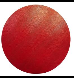 Caspari Placemats Round Felt Backed Crimson Snakeskin