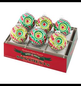 Christopher Radko Shiny Brite Ornaments 3.25 Inch Rounds w Reflectors 6ct
