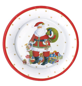 Caspari Christmas Paper Salad-Dessert Plates 8pk Round Santa Claus Lane