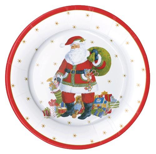 Caspari Christmas Paper Salad Dessert Plates 8pk Round Santa Claus