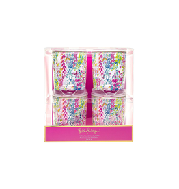 Lilly Pulitzer® Acrylic Low Ball Glasses Set of 4 - Catch The Wave