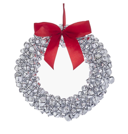 Kurt Adler Silver Jingle Bell Wreath 12 Inch Ornament With Red Bow