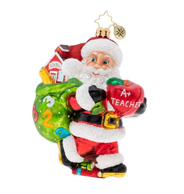 Christopher Radko Hall Pass For Santa Teacher Christmas Ornament