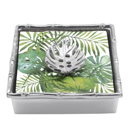 Mariposa Napkin Box Weight Set Tropical Leaf w Bamboo Edge Holder