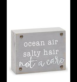 Mud Pie Beach House Sentiment Block Plaque w Ocean Air Salty Hair Not a Care