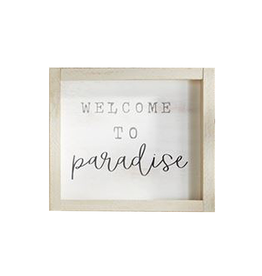 Mud Pie Small Beach House Framed Wall Plaque w Welcome to Paradise