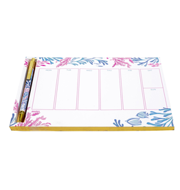 Lilly Pulitzer® Weekly Desk Pad With Pen - Kaleidoscope Coral