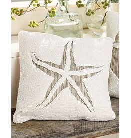 Mud Pie Hooked Pillow 16x16 Inch w Starfish Applique