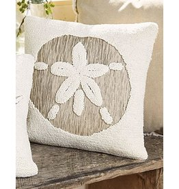 Mud Pie Hooked Pillow 16x16 Inch w Sand Dollar Applique