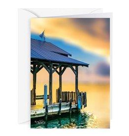 By The Seas-N Greetings Blank Note Card - Cash - Gift Card Holder - Sunset Key Dock II