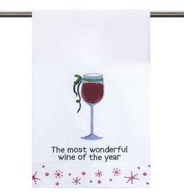 Peking Handicraft Christmas Towel Wonderful Wine of the Year 16x25