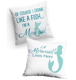 By The Seas-N Greetings Mermaid Flip-er Pillow w Drink Like a Fish - Mermaid Lives Here 14x14