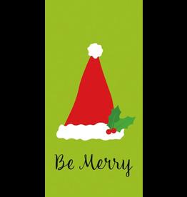 Caspari Paper Facial Tissues Package of 10 Hankies Christmas Be Merry Santa Hat