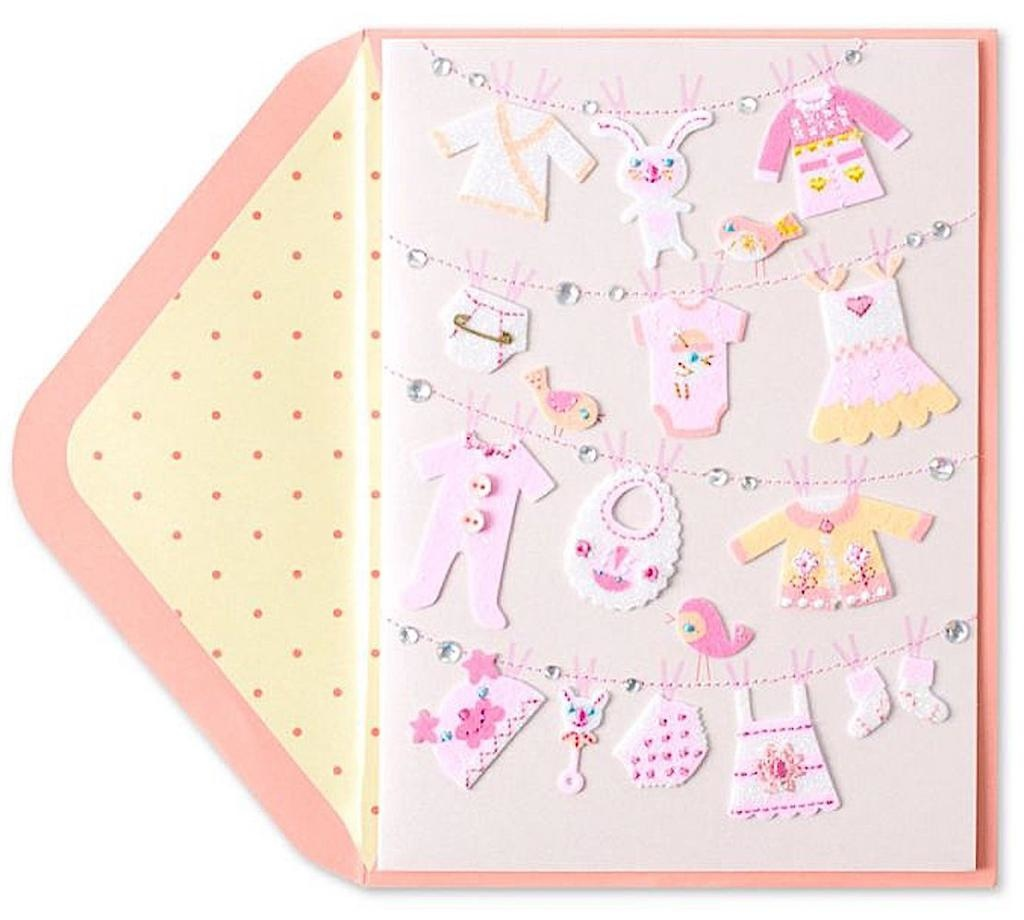 PAPYRUS® New Baby Card Clothesline New Baby Girl
