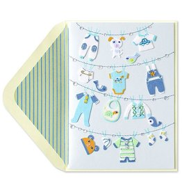 PAPYRUS® New Baby Card Clothesline New Baby Boy
