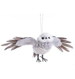 Kurt Adler Flying Owl Ornament 13.38 inch Grey And White