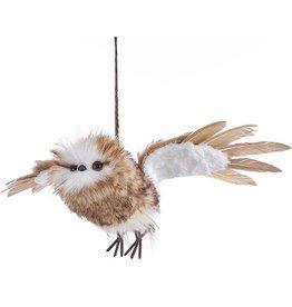 Kurt Adler Flying Owl Ornament 13.38 inch Brown And White