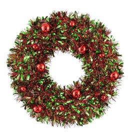 Darice Tinsel Red Green Wreath Hanging Decoration 18 Inch