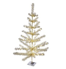 Kurt Adler Sterling Silver Christmas Tree 36 inch Pre-Lit Battery Operated