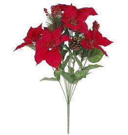 Darice Mixed Poinsettia Bush W Pine Needle Pinecone Berry 18 Inch