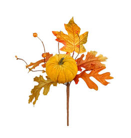 Darice Fall Picks Fall Leaf w Pumpkin Pick 10x6 Inch - Yellow
