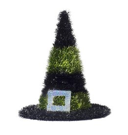 Darice Halloween Tinsel Witch Hats 10 Inch Green Stripes