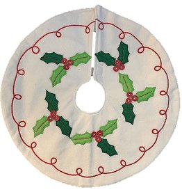 Darice Mini Christmas Tree Skirt 13 Inch Holly w Red Button Berries
