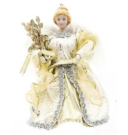 Darice Christmas Angel Tree Topper W Feathers 5.25x6 Inch Gold