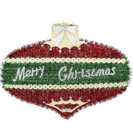 Darice Tinsel Merry Christmas Ornament Shaped Decoration 19x14 Inch