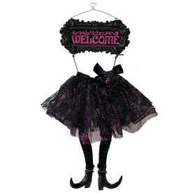 Darice Halloween Witches Skirt And Legs Sign - Witches Welcome