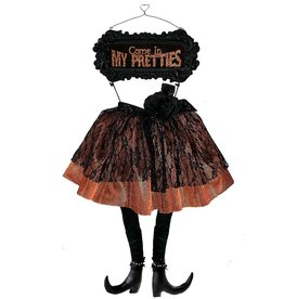 Darice Halloween Witches Skirt And Legs Sign - Come In My Pretties