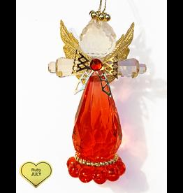 Kurt Adler Birthstone Angel Ornaments 3.25 Inch JULY Ruby