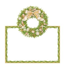 Caspari Christmas Table Place Cards  8pk Shell Wreath Coastal