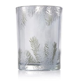 Thymes Frasier Fir Statement Candle Luminary Pillar SM 8.5 Oz Silver Pine Design