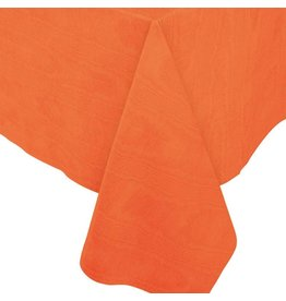 Caspari Moire Printed Paper Linen Table Covers In Deep Orange