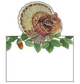 Caspari Place Cards Tent Style 8pk Thanksgiving Turkey And Acorns