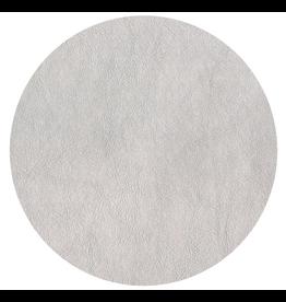 Caspari Placemats Round Felt Backed Metallic Silver Faux Leather Texture