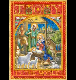 Caspari Christmas Advent Calendar Card Joy To The World Nativity Scene