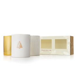 Thymes Frasier Fir Candles Gilded Trio Set of 3 Ceramic 3 Oz Candles