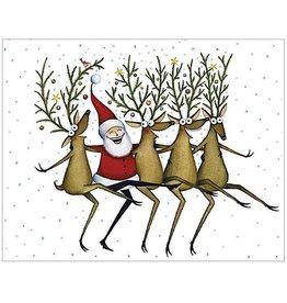 Caspari Christmas Gift Enclosure Cards 4pk Santas Kickettes