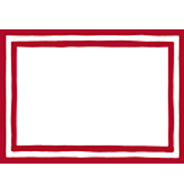 Caspari Name Tags Self Adhesive Labels 12pk Stripe Border Red