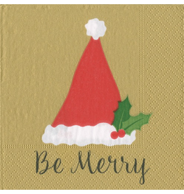 Caspari Christmas Paper Cocktail Napkins 20pk Be Merry Gold