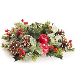 Darice Christmas Candle Ring for 3 Inch Pillar Mixed Holiday Greens