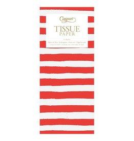 Caspari Gift Tissue Paper 4 Sheets Painted Stripe Red White