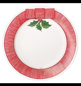 Caspari Christmas Paper Salad-Dessert Plates 8pk Ribbon Border Holly